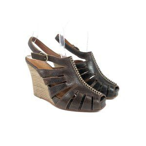Frye Boots Brown Leather Wedge Sandals (Size 5)